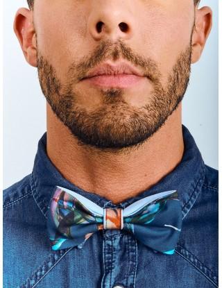 noeud-papillon-unisexe-fleur-bleu-ciel-orange-mariage-estival