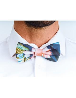 noeud-papillon-unisexe-fleuri-bleu-multicolore-coton-reglable-fixe-deja-noue